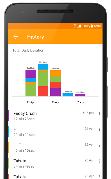 Workout History and statistics in Exercise Timer App